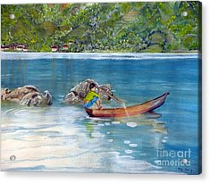 Acrylic Print featuring the painting Anak Dan Perahu by Melly Terpening