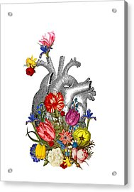 Anatomical Heart With Colorful Flowers Acrylic Print