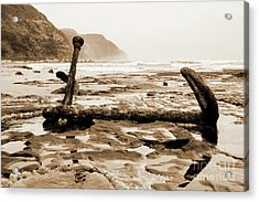 Acrylic Print featuring the photograph Anchor At Rest Sepia Tones by Angela DeFrias
