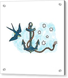 Anchor Swallow Southern Star Tattoo Acrylic Print