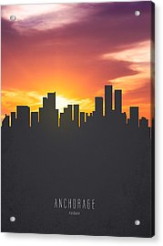 Anchorage Alaska Sunset Skyline 01 Acrylic Print