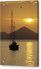 Anchored Ketch And Sunset Over Caribbean Acrylic Print by Don Kreuter