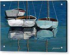 Anchored Reflections I Acrylic Print by Sharon Kearns