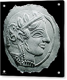Acrylic Print featuring the relief Ancient Greek Relief Seal Drawing by Suhas Tavkar