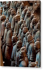 Ancient Soldier Statues Stand At Front Acrylic Print by O. Louis Mazzatenta