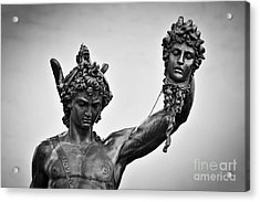 Ancient Style Sculpture Of Perseus With The Head Of Medusa In Loggia Dei Lanzi In Florence, Italy Acrylic Print by Michal Bednarek