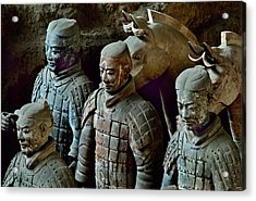 Ancient Terracotta Soldiers Lead Horses Acrylic Print by O. Louis Mazzatenta