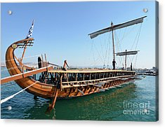Ancient Trireme Acrylic Print by George Atsametakis