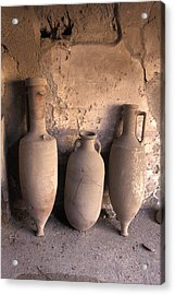 Ancient Wine Clay Vases  In A Wine Acrylic Print by Richard Nowitz