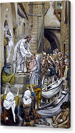 And All The City Was Gathered Together At The Door Acrylic Print by Tissot