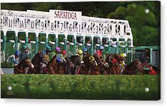 And Theyre Off Acrylic Print by Linda Tenukas