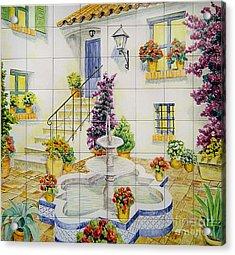 Andalusian Patio Acrylic Print by Jose Angulo