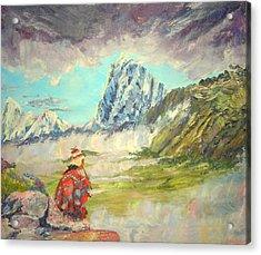Andean Flautist Acrylic Print