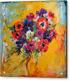 Anemones Bouquet, Floral Painitng, Flowers, Oil Painting Acrylic Print by Soos Roxana Gabriela