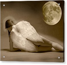 Angel And Moon Acrylic Print by Gustavo Fortunatto