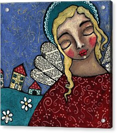 Angel And Village Acrylic Print by Julie-ann Bowden