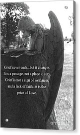 Angel At Grave - Mourning Angel, Sad Angel Art, Grieving Cemetery Angel Decor - The Price Of Love Acrylic Print by Kathy Fornal