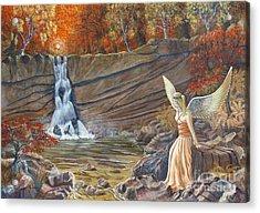 Angel At The Waterfall Acrylic Print