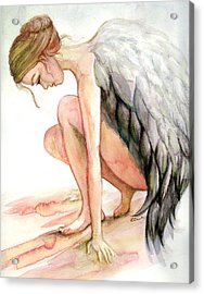 Angel Bowed Acrylic Print by L Lauter