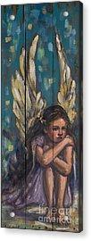Angel Child Painting On Reclaimed Wood Acrylic Print by Kim Marshall