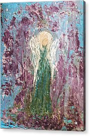 Angel Draped In Hydrangeas Acrylic Print
