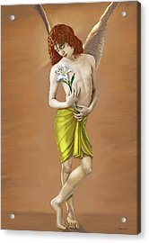 Angel Holding A Lily Acrylic Print by Dominique Amendola