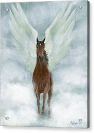 Angel Horse Running Free Across The Heavens Acrylic Print