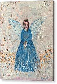 Angel In Blue Acrylic Print by Jun Jamosmos