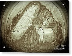 Acrylic Print featuring the relief Angel In Grief by Yurix Sardinelly