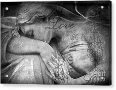 Angel In Mourning - Angel Crying Sad Cemetery Mourner At Grave - Angel Love Script Valentine Print Acrylic Print by Kathy Fornal