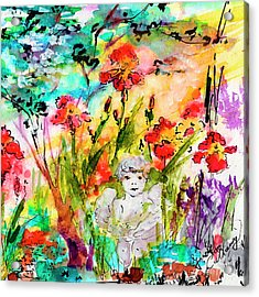 Angel In The Garden Watercolor Acrylic Print