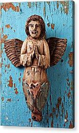 Angel On Blue Wooden Wall Acrylic Print