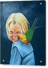 Acrylic Print featuring the painting Angel On My Shoulder by Joni McPherson