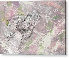 Angel On Pink And Green Florals Acrylic Print