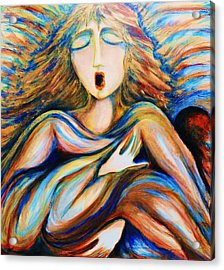 Acrylic Print featuring the greeting card Angel Singing by Rae Chichilnitsky