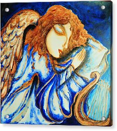 Acrylic Print featuring the greeting card Angel Sleeping by Rae Chichilnitsky