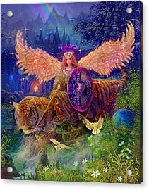 Acrylic Print featuring the painting Angel Tarot Card Angel Fairy Dream by Steve Roberts