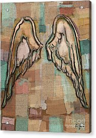 Acrylic Print featuring the painting Angel Wings by Carrie Joy Byrnes