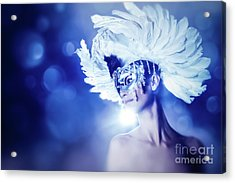 Acrylic Print featuring the photograph Angel Wings Venetian Mask With Feathers Portrait by Dimitar Hristov