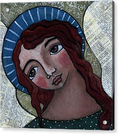 Angel With Blue Halo Acrylic Print by Julie-ann Bowden
