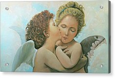 Acrylic Print featuring the painting Bouguereau Angels- My Adaptation by Rosario Piazza