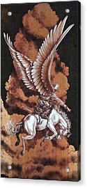 Angelic Saddle Bronc Acrylic Print by Jerrywayne Anderson