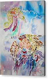 Acrylic Print featuring the painting Angels Assending by AnnE Dentler