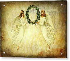 Angels Christmas Card Or Print Acrylic Print by Bellesouth Studio