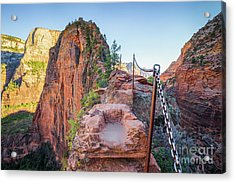 Angels Landing Hiking Trail Acrylic Print by JR Photography