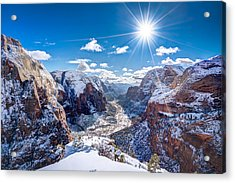 Angels Landing In Winter Acrylic Print