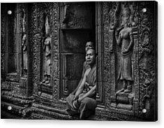 Angkor Wat Buddhist Monks Acrylic Print by David Longstreath