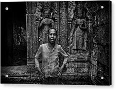 Angkor Wat Temple Nun Acrylic Print by David Longstreath