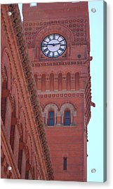 Angled View Of Clocktower At Dearborn Station Chicago Acrylic Print