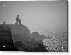 Angling In A Fog  Acrylic Print by Bill Pevlor